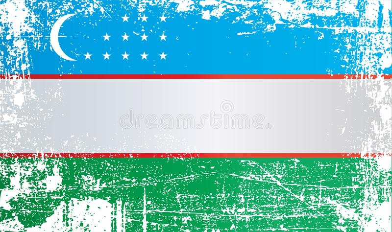Flag of Uzbekistan. Wrinkled dirty spots. Can be used for design, stickers, souvenirs royalty free illustration