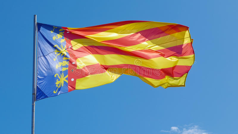 The Flag of Valencia, Spain stock image