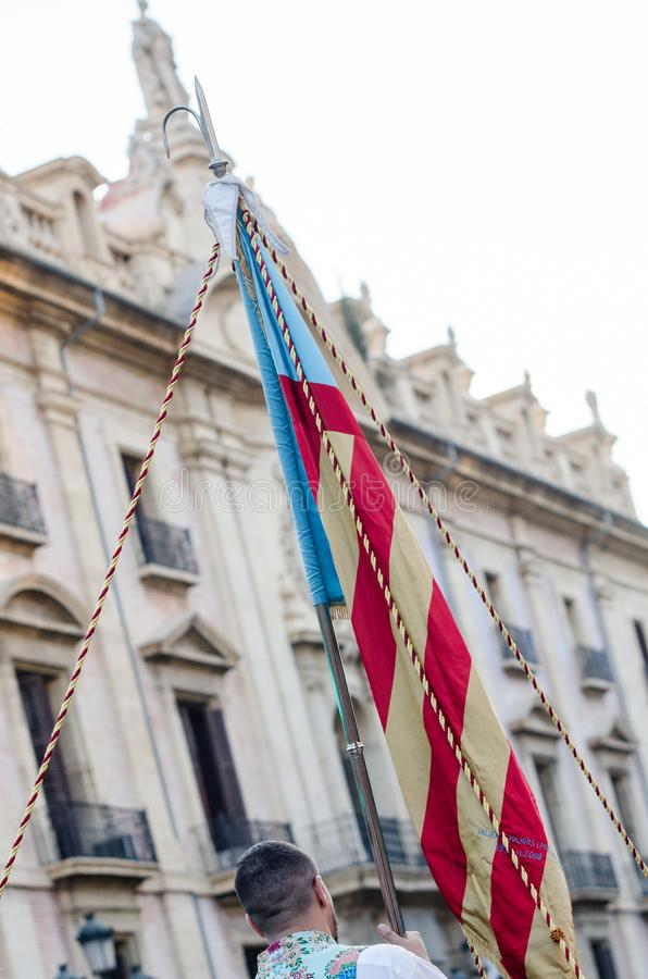 Flag of the Valencian Community in the Festival of the fallas of Valencia royalty free stock photo