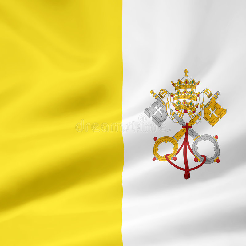 Flag of the Vatican City stock illustration
