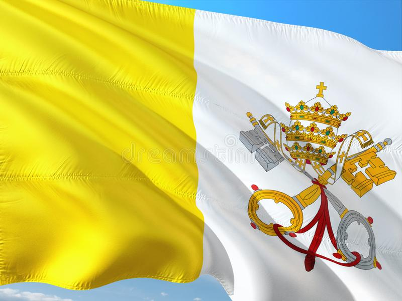 Flag of Vatican City - Holy See waving in the wind against deep blue sky. High quality fabric royalty free stock images