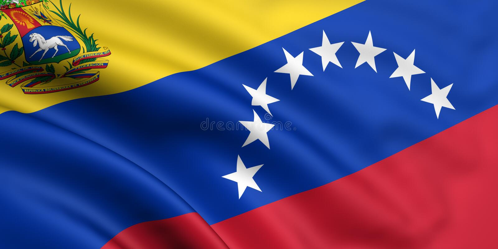 Flag Of Venezuela. 3d rendered and waving flag of venezuela