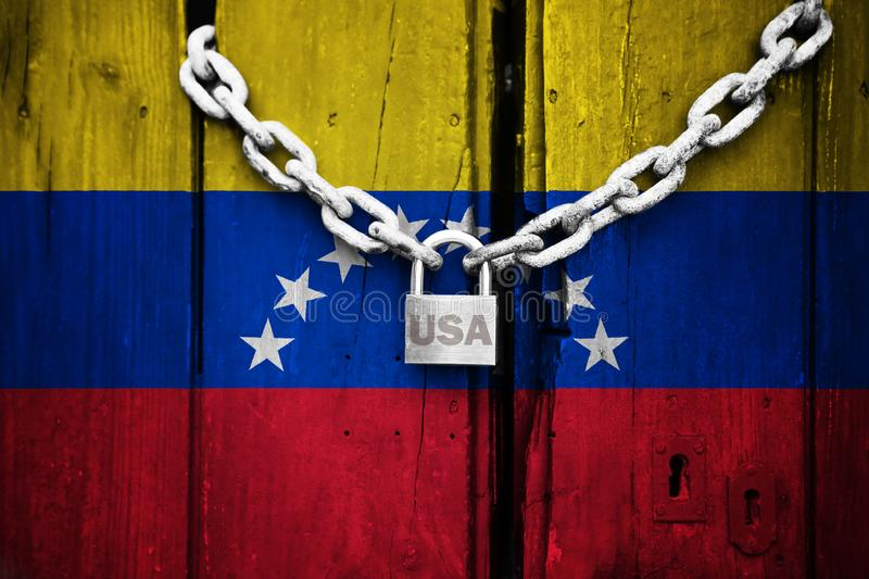 Flag of Venezuela painted on an old and cracked wooden door, which is closed by an old chain and a padlock that conceptually repre. Sents the sanctions or vector illustration