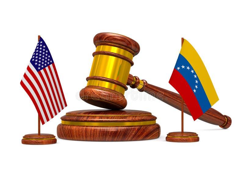 Flag Venezuela and USA and wooden gavel on white background. Isolated 3D illustration vector illustration