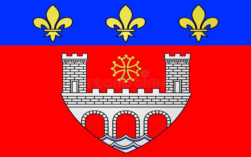 Flag of Villefranche-de-Rouergue, France. Flag of Villefranche-de-Rouergue is a commune in the Aveyron department in southern France vector illustration