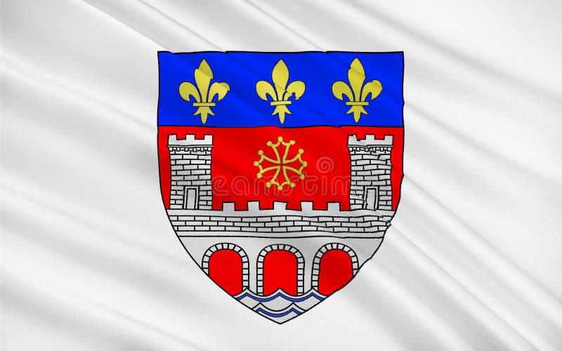 Flag of Villefranche-de-Rouergue, France. Flag of Villefranche-de-Rouergue is a commune in the Aveyron department in southern France stock illustration