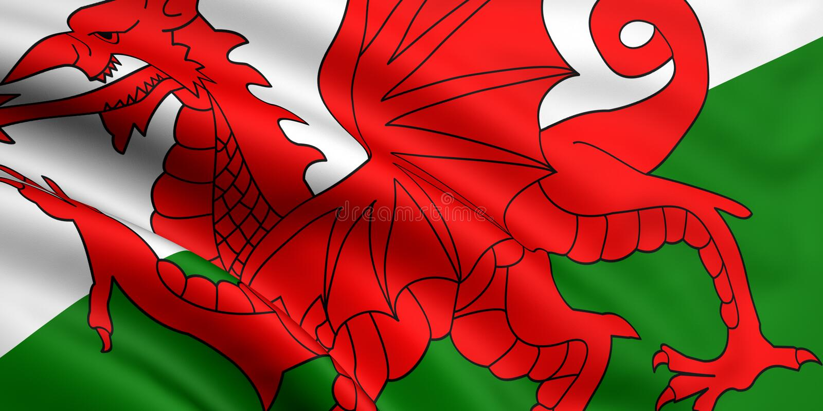 Flag Of Wales. 3d rendered and waving flag of wales