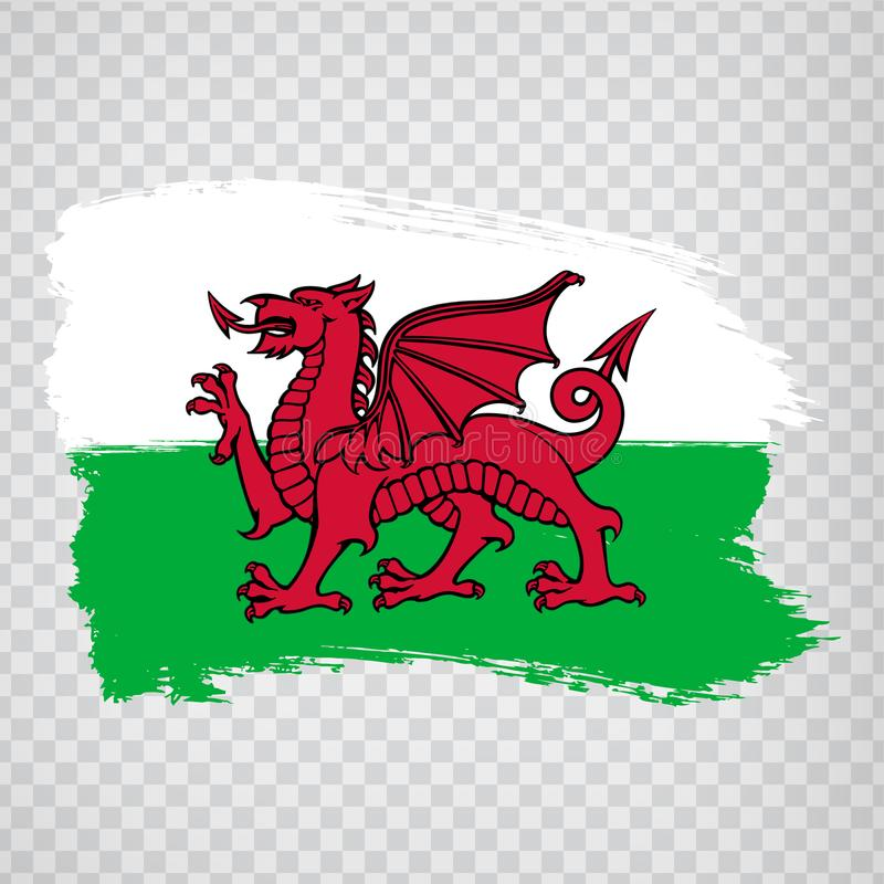 Flag Wales from brush strokes. Flag Wales on transparent background for your web site design, logo, app, UI.  UK. Stock vector. EPS10 stock illustration