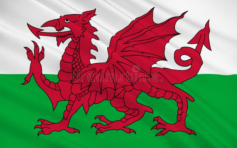 Flag of Wales is country of United Kingdom, Great Britain. Flag of Wales is a country that is part of the United Kingdom and the island of Great Britain stock photo