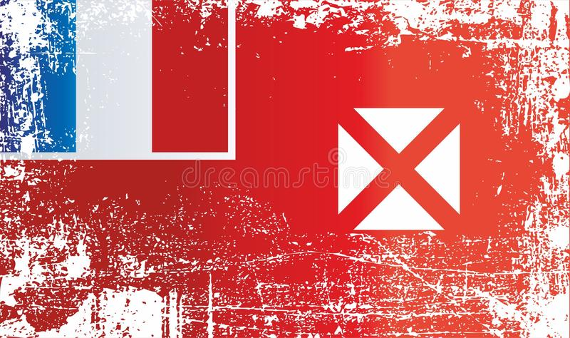 Flag of Wallis and Futuna, Wallis and Futuna Islands, French overseas collectivity. Wrinkled dirty spots. Can be used for design, stickers, souvenirs vector illustration