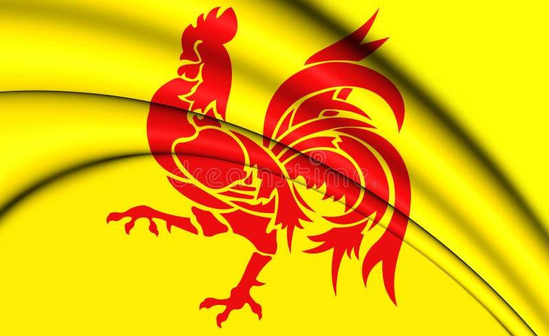 Flag of Wallonia Region, Belgium. 3D Illustration stock illustration