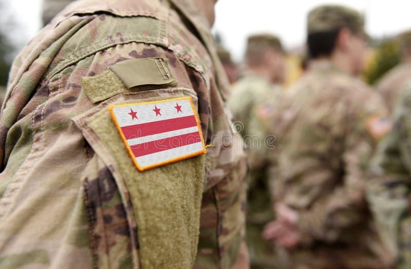 Flag Washington, D C Bezirk Kolumbien auf Militäruniform Vereinigte Staaten USA, Armee, Soldaten Collage stockfoto