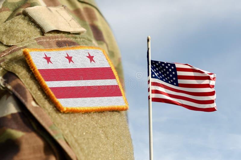 Flag Washington, D C Bezirk Kolumbien auf Militäruniform Vereinigte Staaten USA, Armee, Soldaten Collage lizenzfreies stockbild