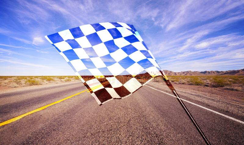 Checkered waving flag on city background. Concept. Flag waving check checkered checker chequered flag car racing stock photos