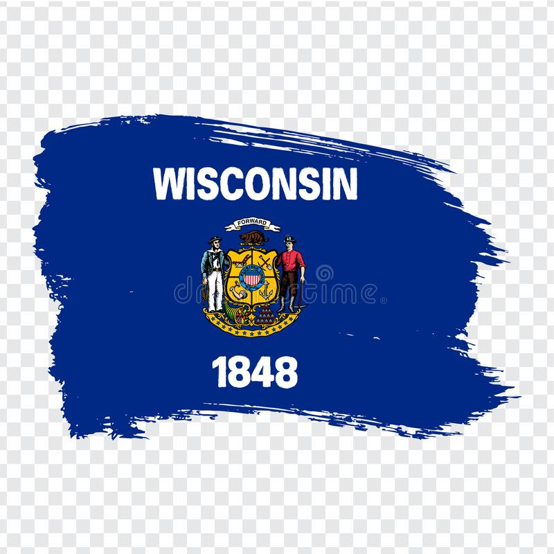 Flag of  Wisconsin from brush strokes. United States of America. Flag Wisconsin on transparent background for your web site design. Logo, app, UI. Stock vector vector illustration