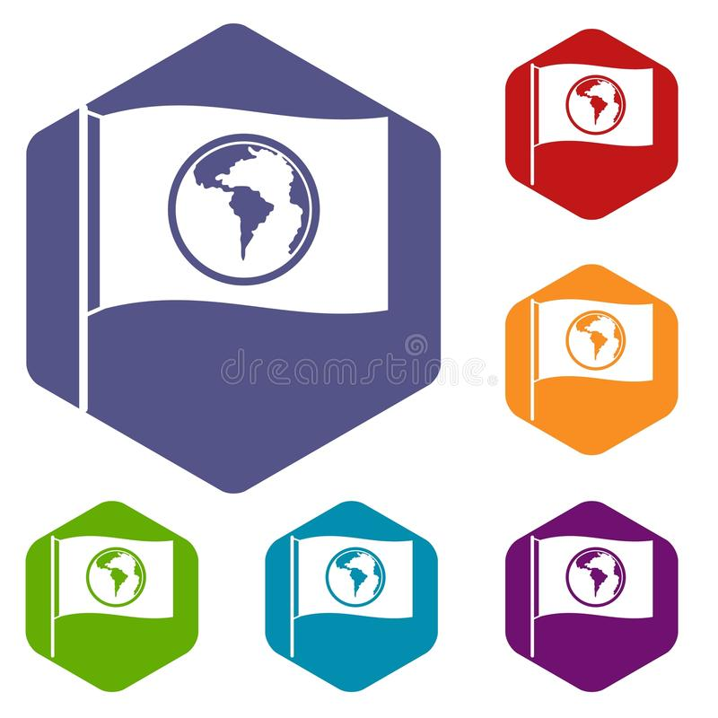 Flag with world planet icons set hexagon stock illustration