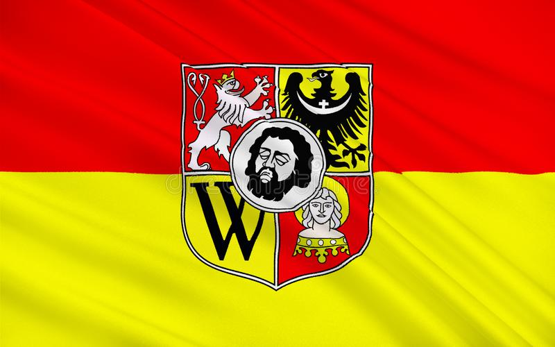 Flag of Wroclaw, Poland. Flag of Wroclaw is the largest city in western Poland stock illustration