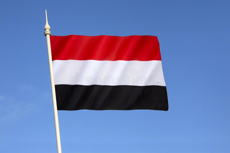 Flag of Yemen. Adopted on 22nd May 1990, the day that North Yemen and South Yemen were unified. The flag is essentially the Arab Liberation Flag of 1952 royalty free stock photos