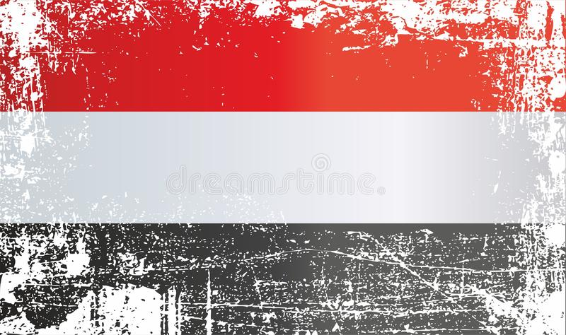 Flag of Yemen. Wrinkled dirty spots. Can be used for design, stickers, souvenirs stock illustration