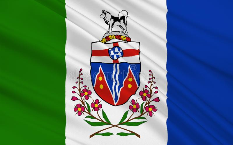 Flag of Yukon, Canada. Flag of Yukon is the westernmost and smallest of Canada`s three federal territories. Whitehorse is the territorial capital and Yukon`s royalty free illustration