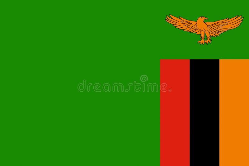 flag zambiaen royaltyfri illustrationer