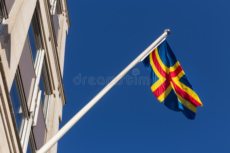 Flaga Ålands w Brussels Belgium zdjęcie stock