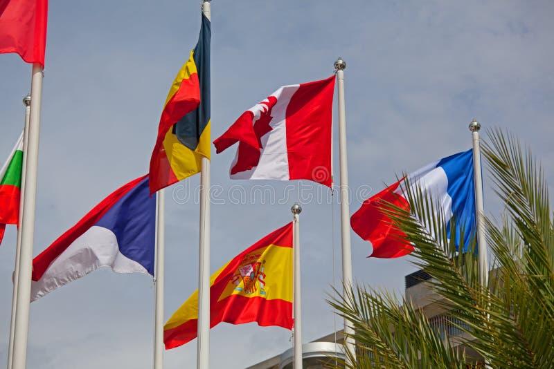 Flaga świat szczęśliwie target264_1_ w wiatrze zdjęcia royalty free