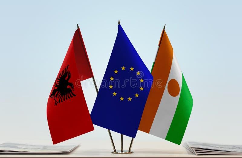 Flaga Albania Europejski zjednoczenie Niger i zdjęcia stock