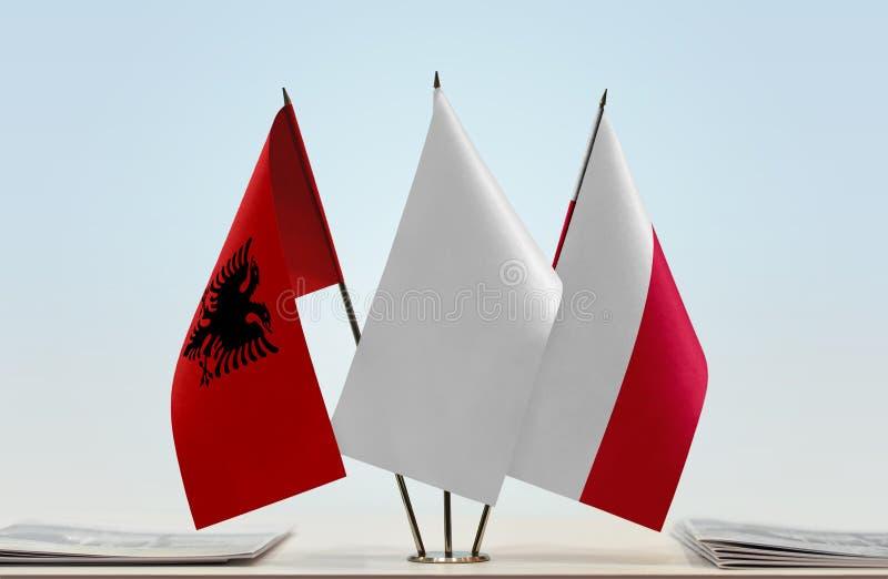 Flaga Albania i Polska fotografia stock