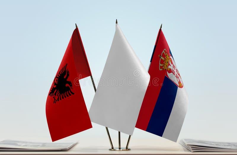 Flaga Albania i Serbia obrazy stock