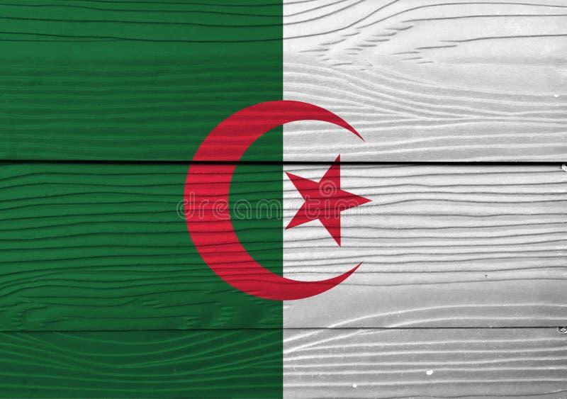 Flaga Algieria na drewnianym ściennym tle Grunge algierczyka flagi tekstura obrazy stock