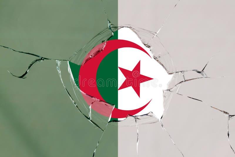 Flaga Algieria na szkle royalty ilustracja