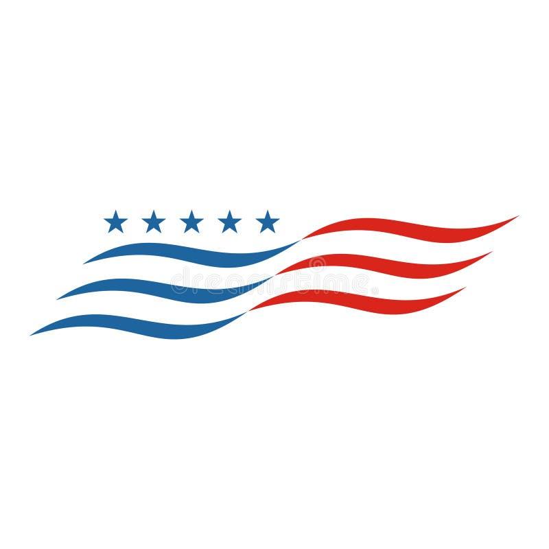 Flaga amerykańska abstrakt, usa chorągwiany logo, USA chorągwiana ikona ilustracja wektor