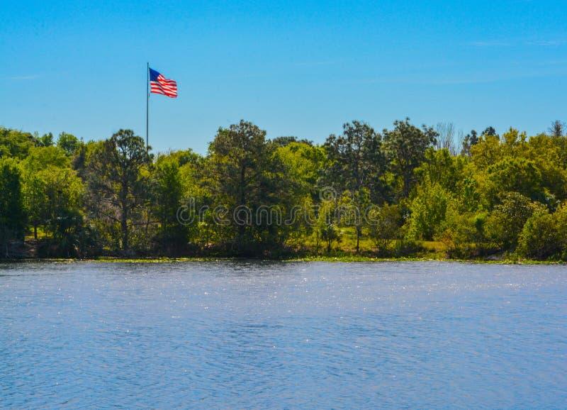 Flaga amerykańska, gwiazdy, lampasy, rewolucjonistka, biel i błękit, zdjęcie royalty free