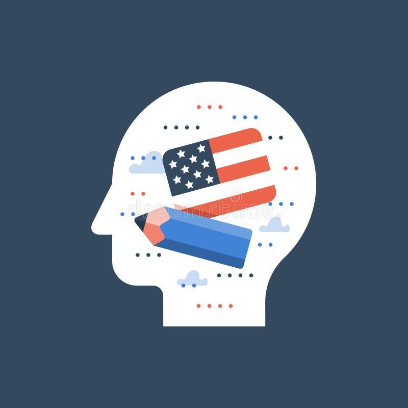 Flaga amerykańska i ołówek, uczymy się angielszczyzny, program edukacyjny, międzynarodowa uczeń wymiana ilustracja wektor