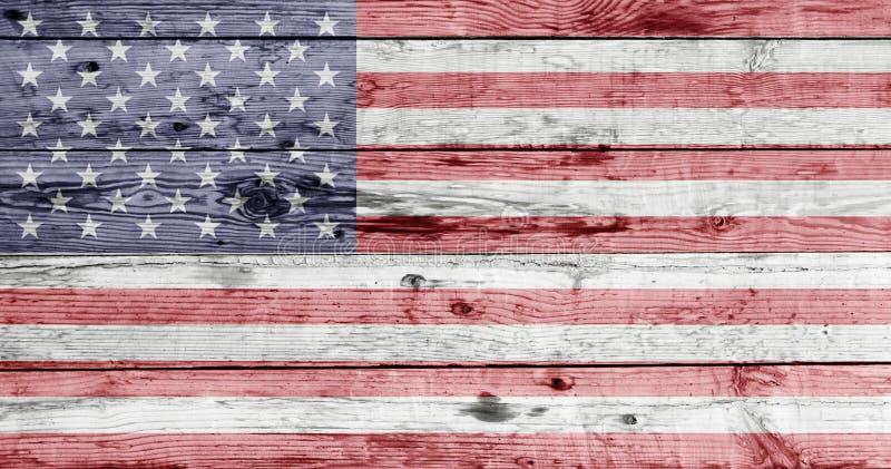 Flaga amerykańska malująca na drewnianej teksturze obraz royalty free