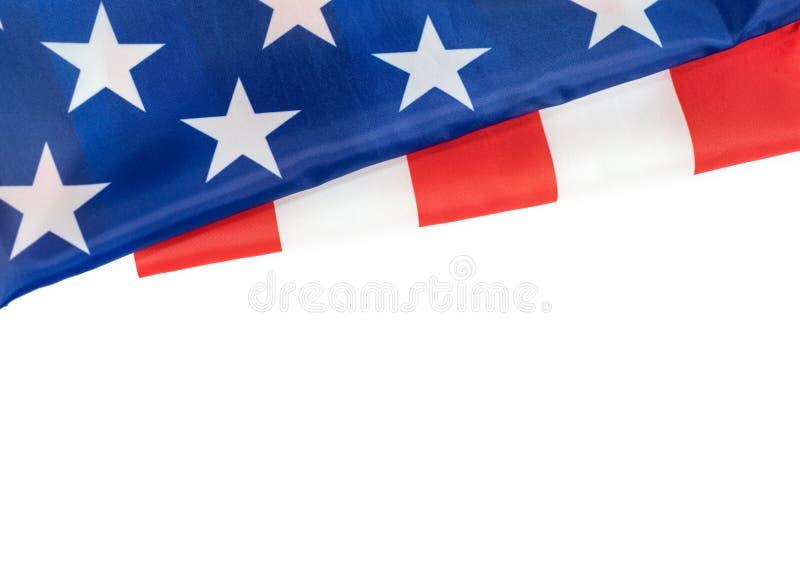 Flaga amerykańska na białym tle dla dnia pamięci lub dnia niepodległości fotografia royalty free