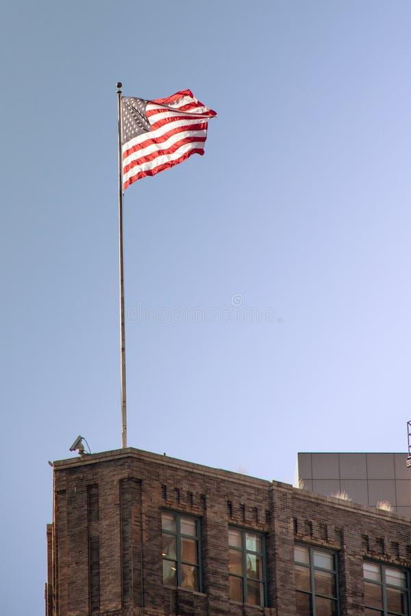 Flaga amerykańska na domu obraz royalty free