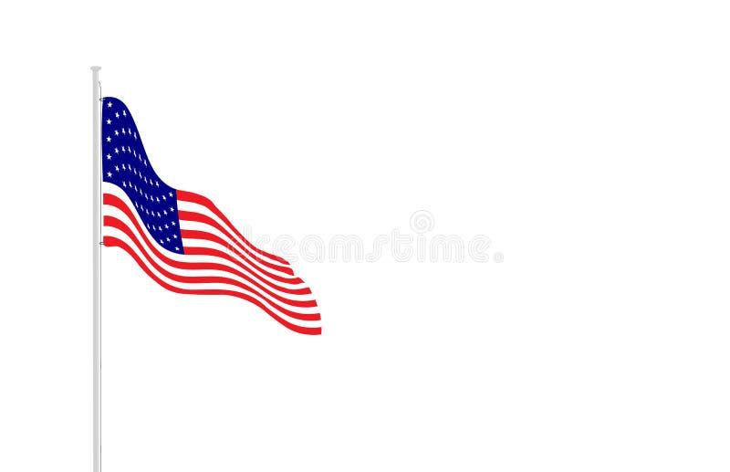 Flaga amerykańska na flagpole ilustracja wektor