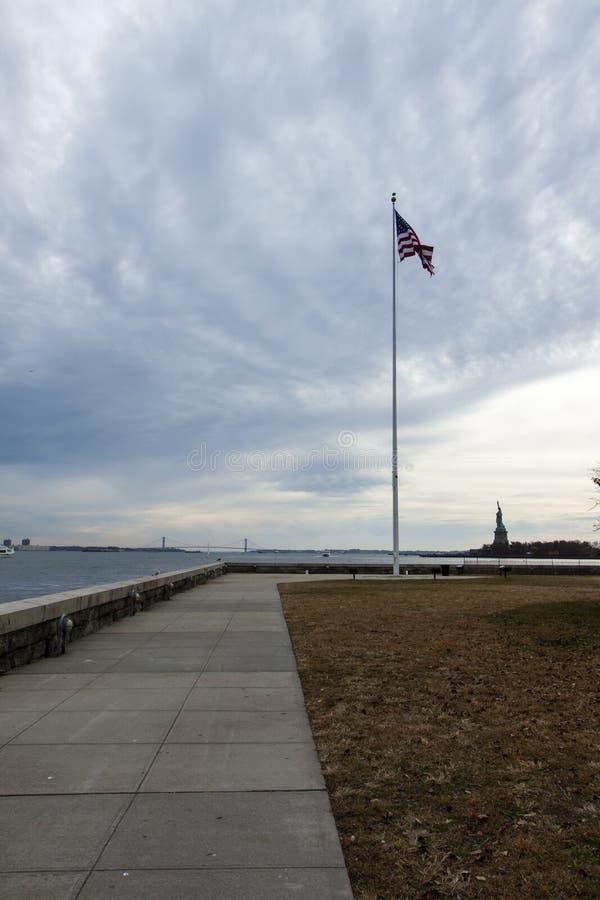 Flaga amerykańska na flagpole fotografia royalty free