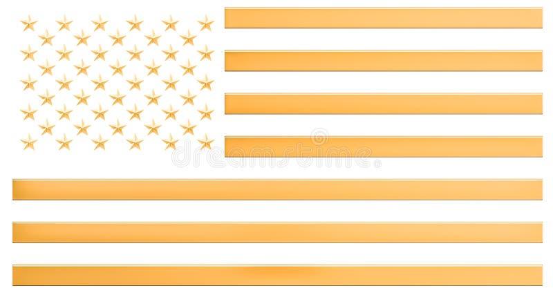 Flaga amerykańska od złota, 3D royalty ilustracja