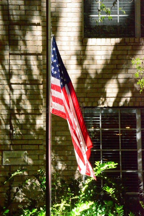Flaga Amerykańska przy nocą obrazy royalty free