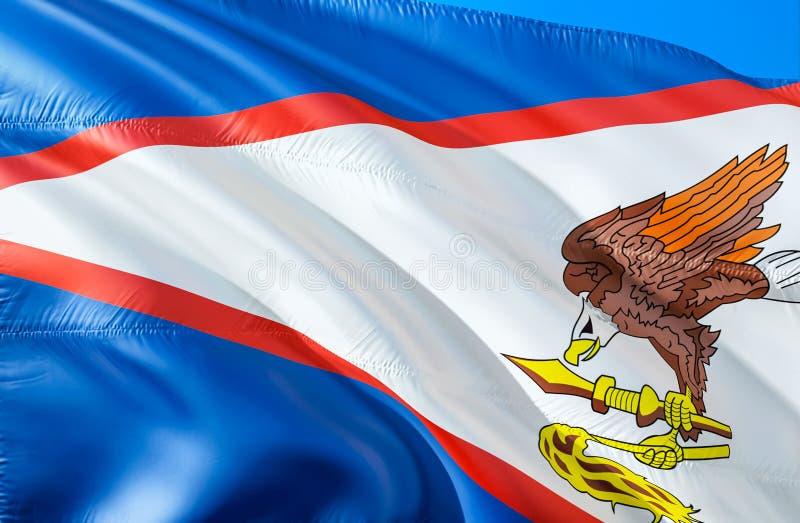 flaga amerykańska Samoa 3D falowania usa stanu flagi projekt Obywatel USA symbol amerykanina Samoa stan, 3D rendering obywatel zdjęcie stock