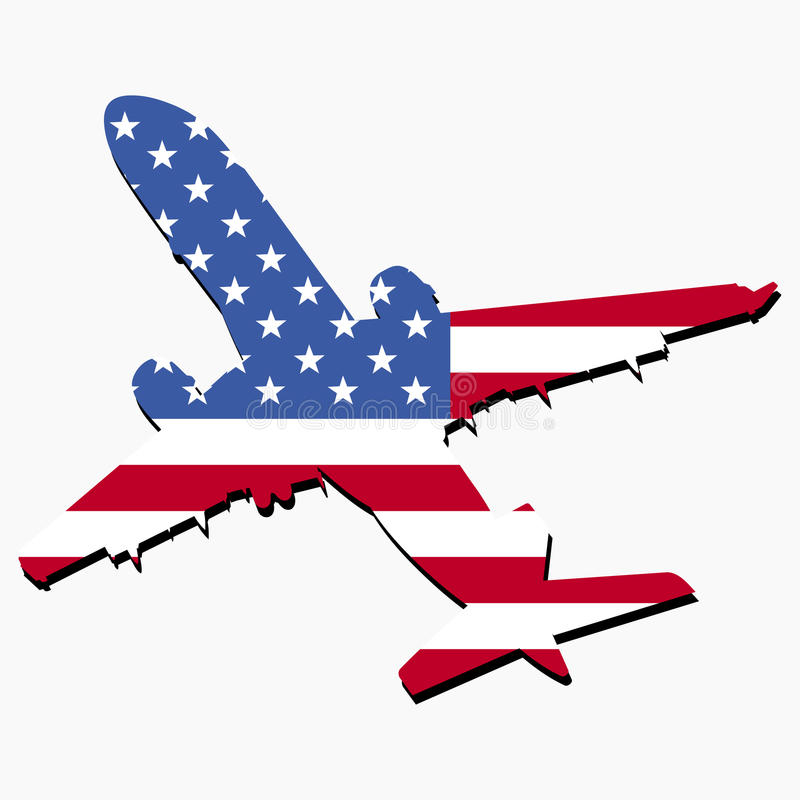 flaga amerykańska samolot ilustracji
