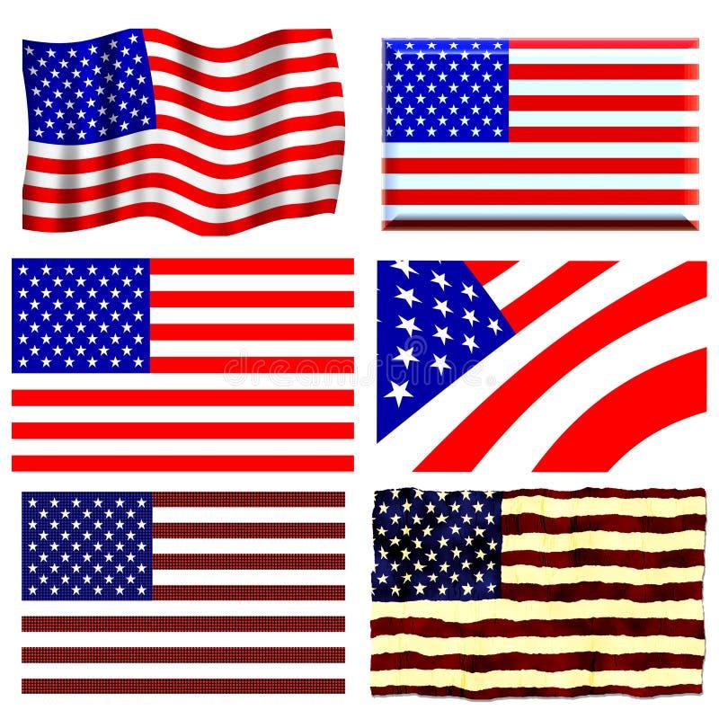 flaga amerykańska set ilustracji