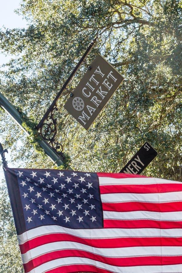 Flaga Amerykańska w miasto rynku obraz royalty free