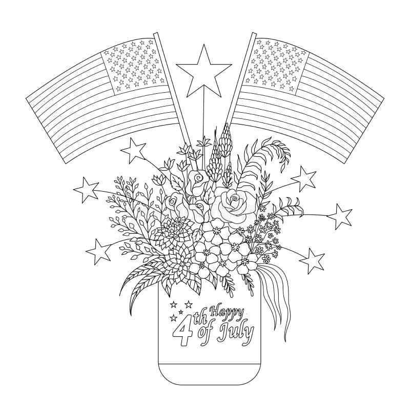 Flaga amerykańskie na kwiatach i dekoracje na kamieniarza słoju dla projekta elementu i kolorystyki książki strony również zwróci royalty ilustracja