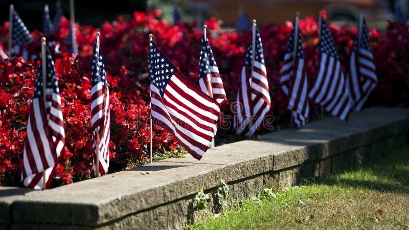 Flaga amerykańskie w kwiatu łóżku zdjęcie stock