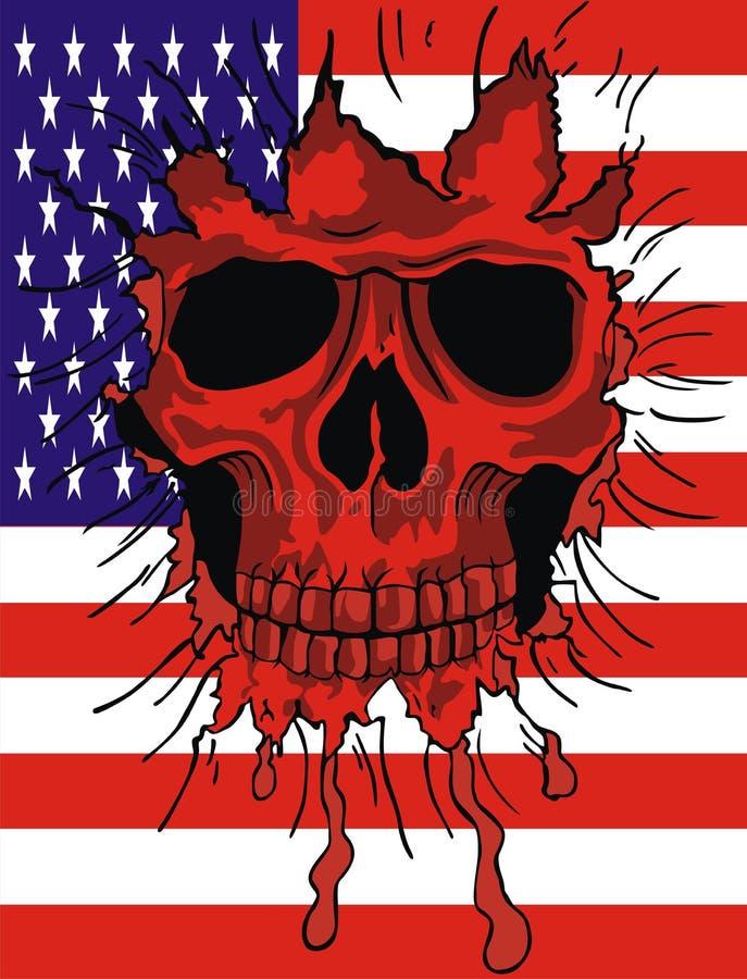 flaga amerykańskiej czaszka royalty ilustracja