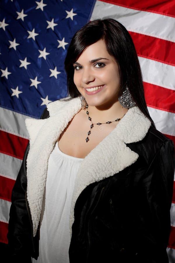 flaga amerykańskiej dziewczyna obrazy stock